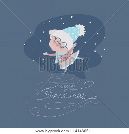 Old woman skating on ice. Vector christmas iluustration