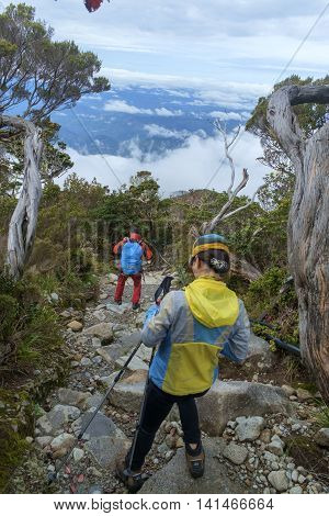 Some of tourist descending after climbing mount Kinabalu