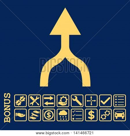 Combine Arrow Up icon with bonus pictograms. Vector style is flat iconic symbol, yellow color, blue background. Bonus style is square rounded frames with symbols inside.