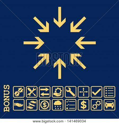 Pressure Arrows icon with bonus pictograms. Vector style is flat iconic symbol, yellow color, blue background. Bonus style is square rounded frames with symbols inside.