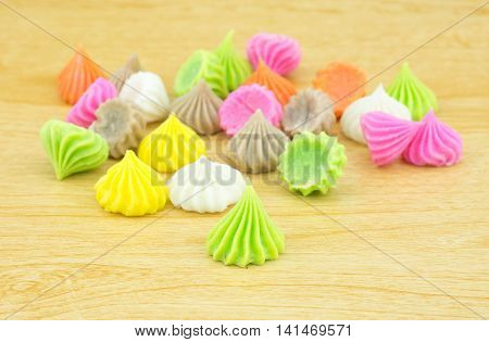 Aalaw candy, colorful Thai dessert with sugar crust and soft chewy inside made from flour,selective focus
