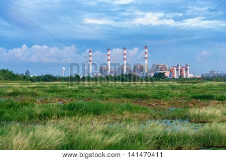 Thermal power plant with lagoon. Bangpakong Powerplant Chonburi Thailand