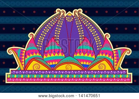 Vector design of Lotus Temple in Indian art style