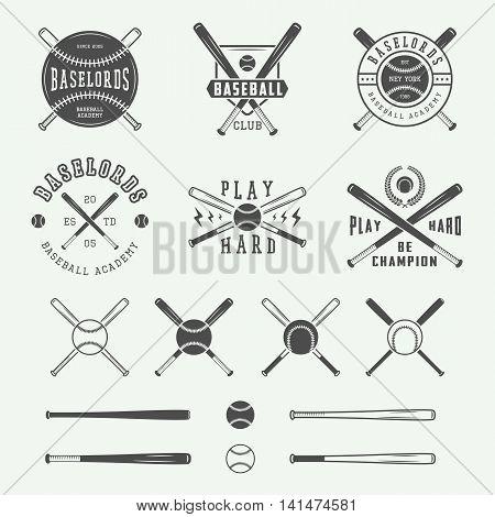 Vintage baseball logos emblems badges and design elements. Vector illustration