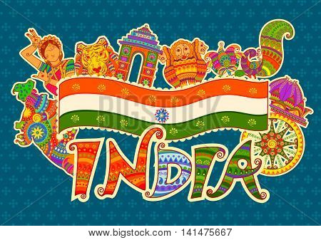 Vector design of monument and culture of India in Indian art style