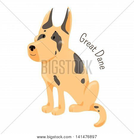 Great Dane isolated. Large breed of domestic dog known for giant size. Deutsche Dogge. German Mastiff. Dogue Allemand. Part of series of cartoon puppy species. Child fun pattern icon. Vector
