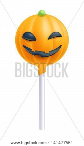 Colorful halloween cake pop. Sweet cookie on stick. Decorated sweet bakery. Pampkin design.