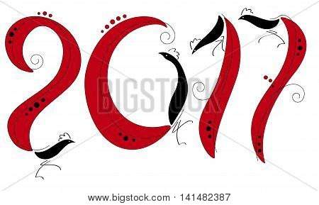 Vector illustration of rooster symbol of 2017 on the Chinese calendar. Vector element for New Year's design. Image of 2017 year of Red Rooster.