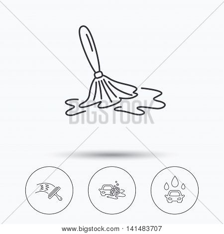 Car wash icons. Automatic cleaning station linear signs. Washing windows, wet cleaning and foam bucket flat line icons. Linear icons in circle buttons. Flat web symbols. Vector