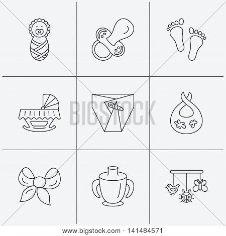 Pacifier, newborn and baby toys icons. Footprint, diapers and cradle bed linear signs. Mug, dirty bib flat line icons. Linear icons on white background. Vector