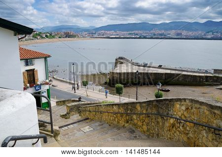 GETXO, near BILBAO. 27th July 2016. The old fishing port at Algorta is a huge tourist draw during the Summer months.