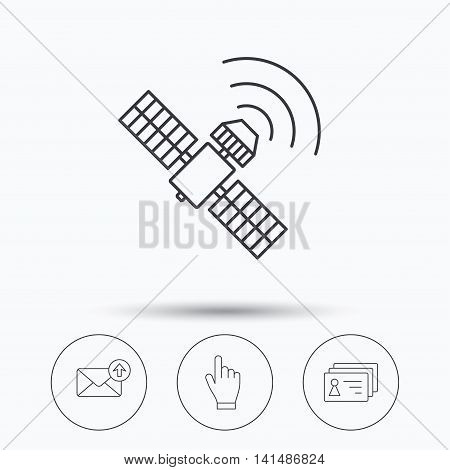 Hand pointer, contacts and gps satellite icons. Outbox mail linear sign. Linear icons in circle buttons. Flat web symbols. Vector