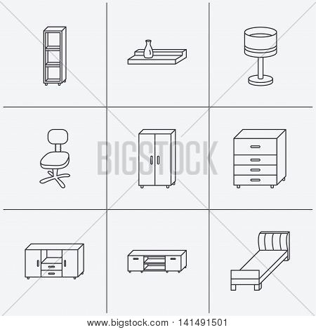 Single bed, TV table and shelving icons. Office chair, table lamp and cupboard linear signs. Wall shelf, chest of drawers icons. Linear icons on white background. Vector