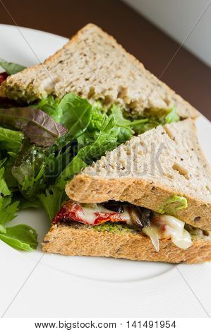 Vegetarian Sandwich Served With A Side Salad