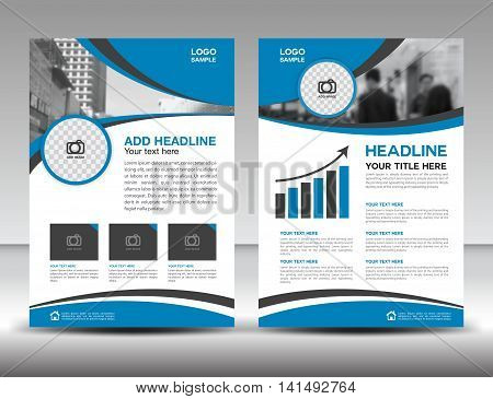 Blue business brochure flyer design layout template in A4 size cover annual report magazine ads poster catalog