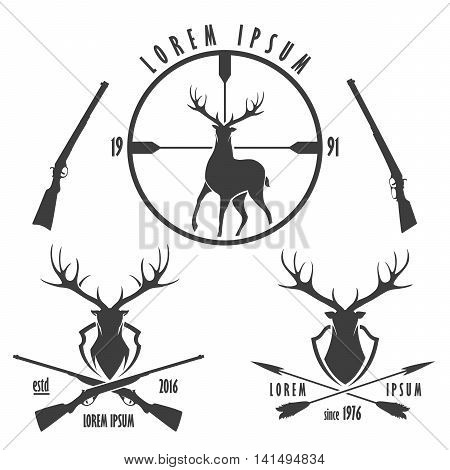 Set of deer hunting emblems. Silhouette and head of deer target crossed guns and arrows.