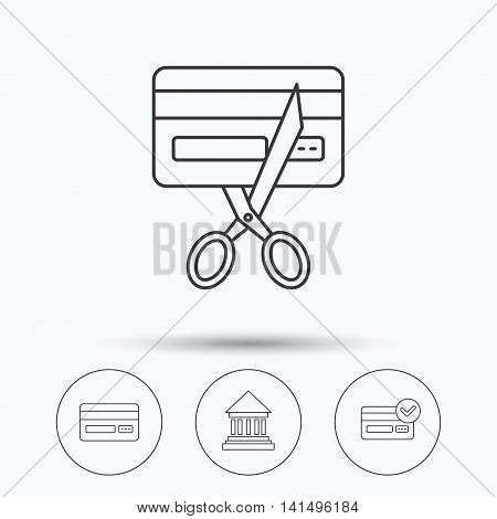 Bank credit card, approved card icons. Expired credit card linear sign. Linear icons in circle buttons. Flat web symbols. Vector
