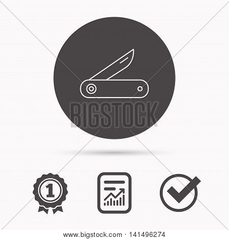 Multitool knife icon. Multifunction tool sign. Hiking equipment symbol. Report document, winner award and tick. Round circle button with icon. Vector