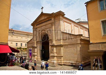 The Ajaccio cathedral in Corsica / France