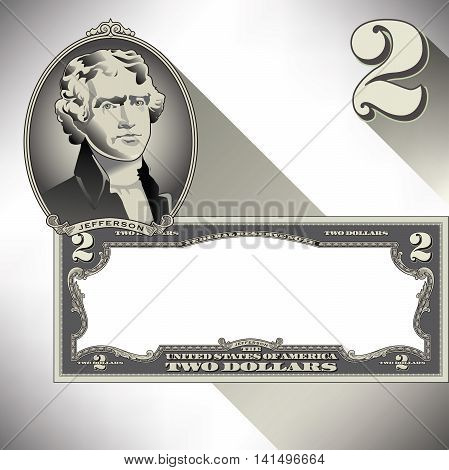 Miscellaneous two dollar bill elements for Print or Web