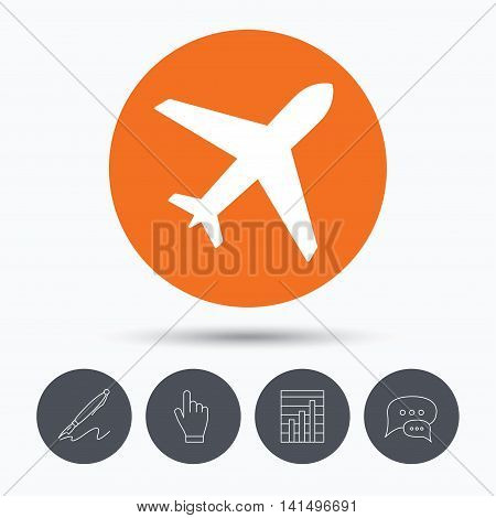 Plane icon. Flight transport symbol. Speech bubbles. Pen, hand click and chart. Orange circle button with icon. Vector