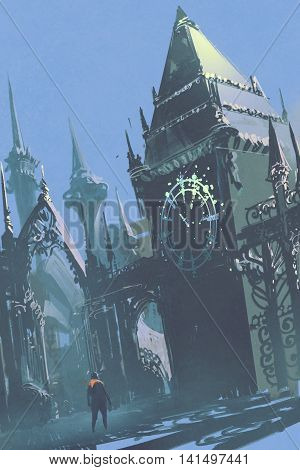 man looking at the clock tower in sci-fi city, illustration painting