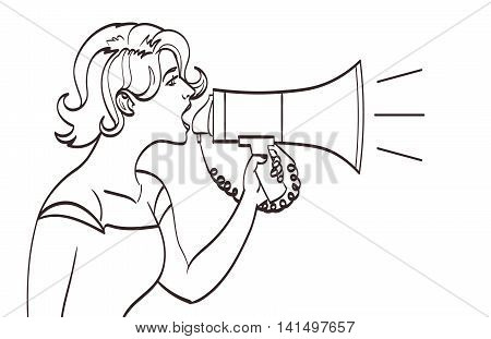 Vector full isolated portrait of a beautiful woman shouting with a megaphone. Lineart drawing, eps 10.