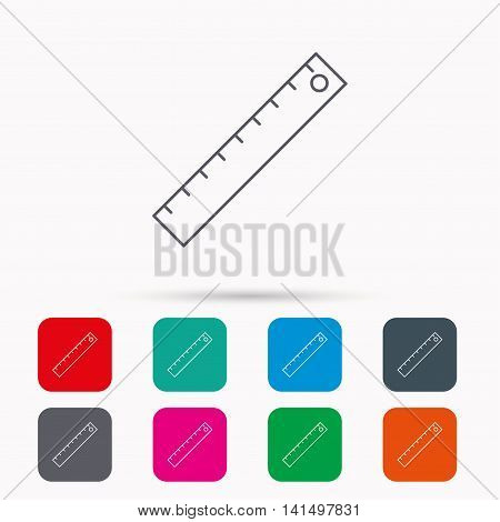 Ruler icon. Straightedge sign. Geometric symbol. Linear icons in squares on white background. Flat web symbols. Vector