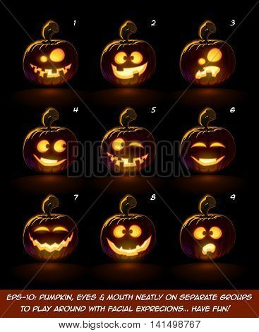 Dark Jack O Lantern Cartoon - 9 Angry Expressions Set2