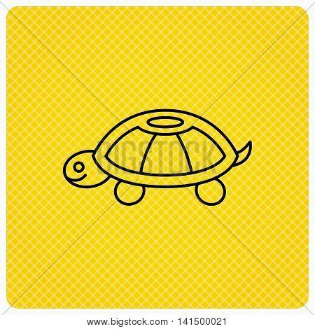 Turtle icon. Tortoise sign. Tortoiseshell symbol. Linear icon on orange background. Vector