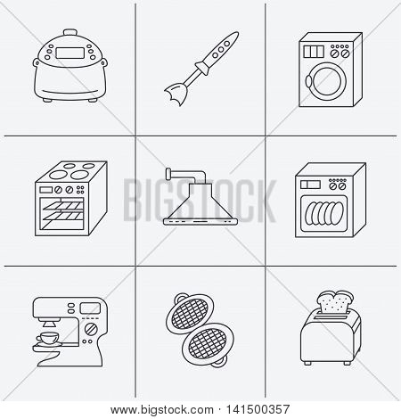 Dishwasher, washing machine and blender icons. Kitchen hood, coffee maker and toaster linear signs. Oven, multicooker and waffle-iron icons. Linear icons on white background. Vector