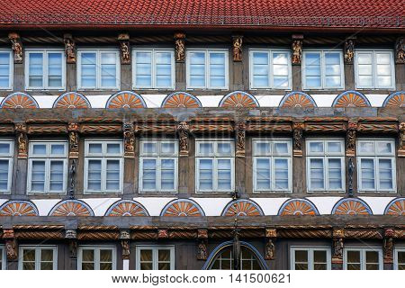 Old medieval building in the Weser Renaissance style in Hameln, Germany.