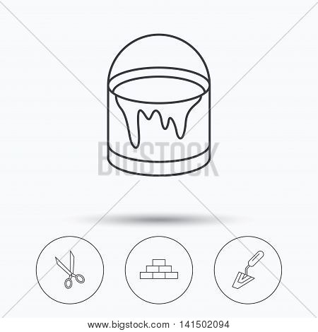 Spatula, scissors and bucket of paint icons. Brickwork linear sign. Linear icons in circle buttons. Flat web symbols. Vector