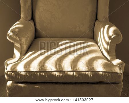 Beige brocade chair with stripes of sunlight
