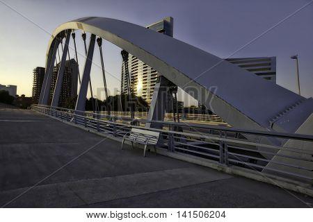 The Main Street Bridge in Columbus, Ohio at sunrise.