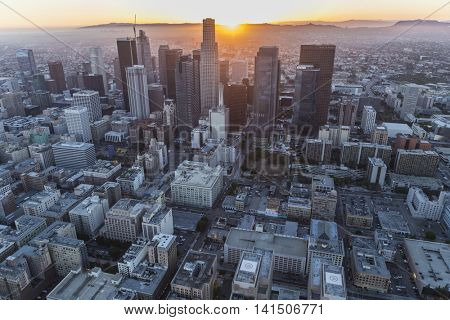 Los Angeles, California, USA - July 21, 2016:  Downtown Los Angeles skyline aerial view with sunset.