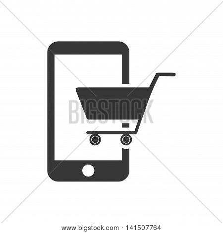 shopping cart smartphone market store buy icon. Isolated and flat illustration. Vector graphic