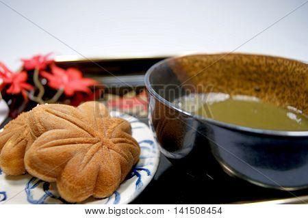 Momiji-manju is sweets of bean jam paste.