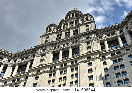 New York City - June 29, 2016: Municipal Building in Manhattan New York City is a 40-story building built to accommodate increased governmental space demands after the 1898 consolidation of the city's five boroughs.