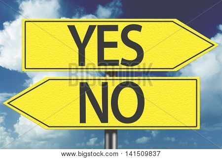 Yes x No yellow sign