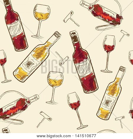 Seamless pattern Drink menu elements. Restaurant blackboard for drawing. wine list drink menu board glass of the white wine and red wine