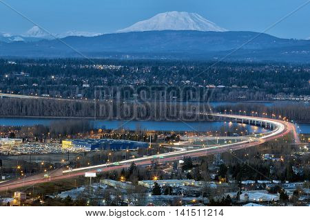 Glenn L Jackson Memorial Bridge I-205 freeway over Columbvia River between Oregon and Washington state during evening blue hour