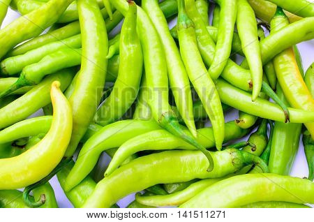 Background of a pile of spicy green chilli