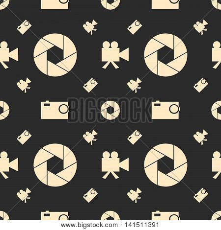 Photo and video camera flat icons. Vector illustration. Seamless background. Aperture icon