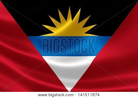 3D rendering of Antigua and Barbuda's flag on satin textile texture. Antigua and Barbuda is a twin-island country in the Americas between the Caribbean Sea and the Atlantic Ocean.