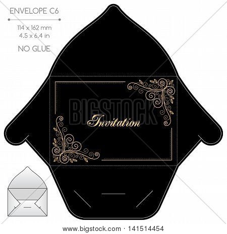 Envelope template with die cut. No glue. Retro style design with calligraphy frame. poster