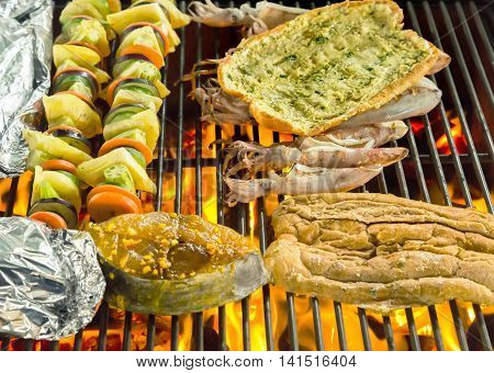 Grill Cooking Seafood Long Loaf, Bread