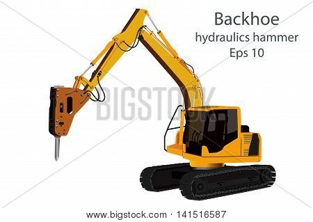 backhoe and hydraulics hammer machine on white background.