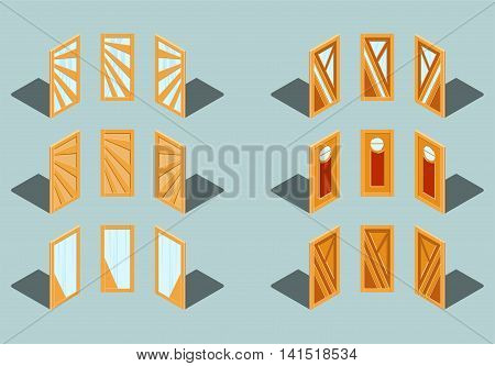 A set of six wooden door in perspective