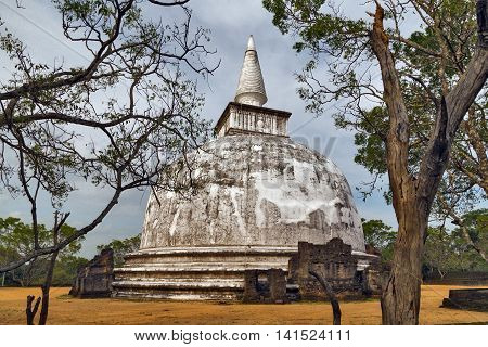 Ancient City Pagoda Ruins In Polonnaruwa City Temple Sri Lanka. World Heritage Convention, Unesco